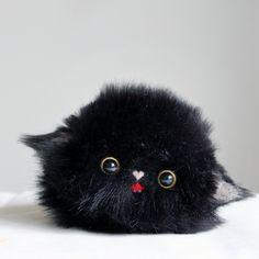 Handmade needle felted felting cute animal project black cat kitten he | Feltify