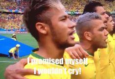 Brazilian anthem brings Neymar to tears. #gif