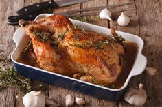 A whole chicken cooks all day with more garlic than you think should be allowed, but it's so worth it.