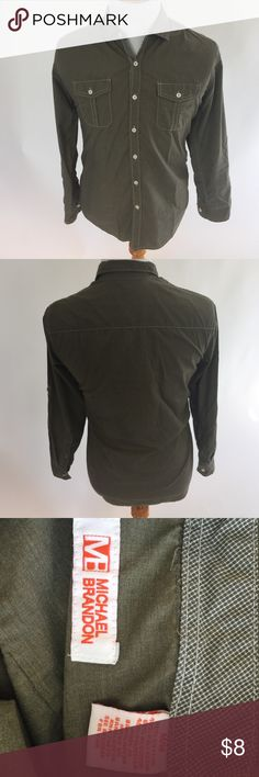 Men Large Green Long-Sleeved Buttoned-Down Shirt Men Large Pale Green Long-Sleeved Buttoned-Down Shirt. Gently used, no tear/stain. Labeled as M, but fits more like L. Michael Brandon Shirts Casual Button Down Shirts