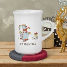 Personalised Sledging Snowman Ceramic Windsor Mug