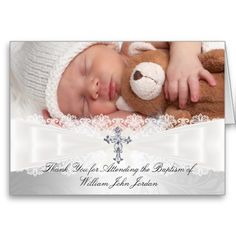 Photo Cross and Lace Baptism Thank You Card Greeting Cards
