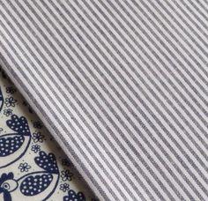 Dark navy blue and white mini stripe fabric quilting ticking nautical