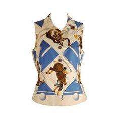 1990s Hermes Silk Twill Sleeveless Blouse