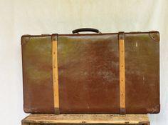 ANTIQUE Leather Trunk, Vintage German Suitcase, Large Automobile Suitcase, Echt Vulkanfiber Steamer Trunk