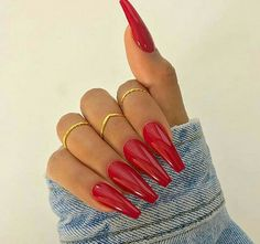 10 Must-Wear Nail Colors from Fall to Winter – Long Nails – Long Nail Art Designs Coffin Shape Nails, Coffin Nails Long, Long Nails, My Nails, Nails Shape, Diva Nails, Short Nails, Red Acrylic Nails, Acrylic Nail Designs