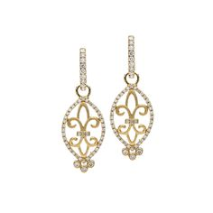 Alson Signature Collection Fleur-De-Lis Dangle Diamond Earrings, Fashioned in 18K Yellow Gold, Featuring Round Diamonds =.65cts Total Weight