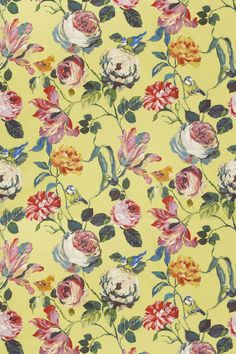 Country Garden Mimosa (8530/811) - Prestigious Fabrics - A bold, wide width floral trail with flamboyant flowers and cute garden birds.Shown here in pinks, blues, greens and orange on a vivid yellow background. Other colourways are available. Please request a sample for a true colour match.