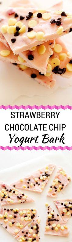 Strawberry Chocolate Chip Yogurt Bark - You won't believe how excited ...