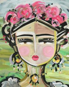 Frida Kahlo Painting, original on canvas, 24x30, high profile canvas by DevinePaintings on Etsy