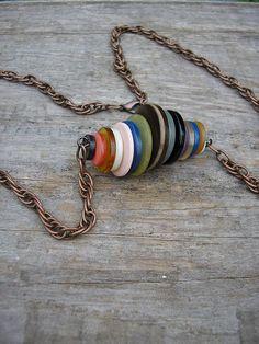 Vintage Button Necklace Multicolor Copper by electricbluebird, $16.00