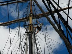 Aloft on Picton Castle #pictoncastle #tallships #sailing #tallship #ship