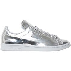 Adidas by Raf Simons Stan Smith leather Sneakers (37500 RSD) ❤ liked on Polyvore featuring shoes, sneakers, silver, adidas trainers, leather shoes, real leather shoes, perforated leather shoes and perforated shoes