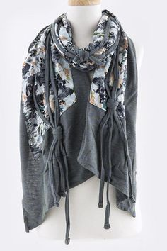 """Unique with a touch of Shabby Chic, Watercolor Chiffon layered onto Ashen.  SCARF SIZE: 11"""" W x 66"""" L"""