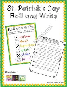St. Patricks Day Roll and Write product from TrishaB on TeachersNotebook.com