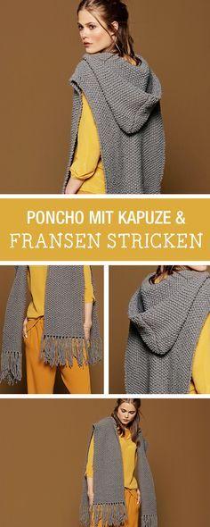 DIY-Anleitung: Modernen Poncho mit Kapuze und Fransen stricken, der diesjährige Modetrend im Herbst / DIY tutorial: knitting modern poncho with hood and fringes, fall fashion via DaWanda.com