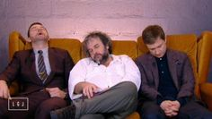 #Richard, Peter, and Martin taking a much needed power-nap between interviews on the whirlwind press junket for The Hobbit: The Battle of the Five Armies.