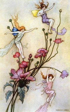 ≍ Nature's Fairy Nymphs ≍ magical elves, sprites, pixies and winged woodland faeries - Warwick Goble