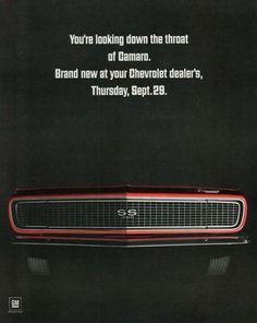 """Vintage '67 Camaro """"Teaser"""" ad."""