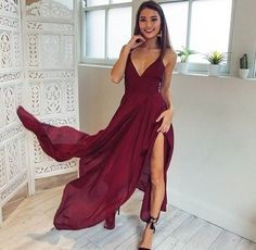 Sexy V-neck Long Chiffon Burgundy Prom Dress with Slit