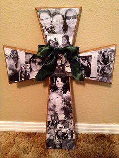 Mod Podge Cross I ACTUALLY MADE! Birthday gift to my grandma. These are her wonderful grandchildren!