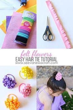 Diy Crafts - ad-Easy Felt Flower Hair Tie Tutorial for Spring GoodyStyle ad Crafts For Girls, Diy For Kids, Kids Crafts, Easy Crafts, Making Hair Bows, Diy Hair Bows, Diy Headband, Baby Headbands, Baby Hair Ties
