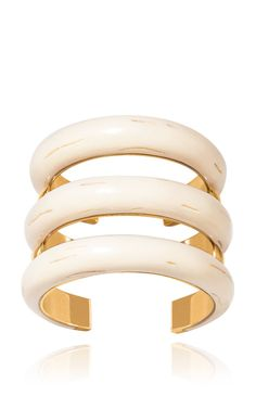 Aurelie Bidermann Caftan Moon Resin Horn And Gold Plated Cuff
