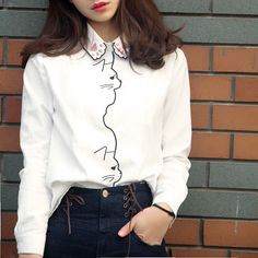 Cute cat embroidery shirt
