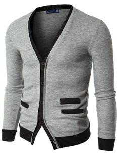 Doublju Mens Sweater Cardigan with Pocket Detail
