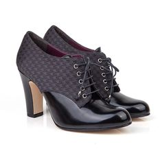 Lucile black vegan high heel lace up round toe in black faux patent with non leather synthetic pleather lining 100% Vegan, vegetarian and cruelty-free.