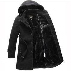 Classic Cashmere Wool Long Men's Trench Coat M-3XL 2 Colors