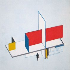 BAUHAUS: In 1924, Bayer designed a street-car station and newspaper stand with the strong use of vertical and horizontal planes that cut through the station to form colorful open sided spaces of blue, red, yellow, white, and black painted walls constructed of prefabricated units that were reproduced in large assembly lines.