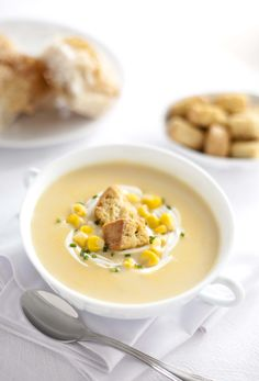 Corn soup / Crema de elote (Photo by Luis Sandoval / Agridulce) Food Photography