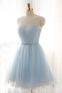 Women's Short Light Sky Blue Tulle Homecoming Dress,Illusion Neck Silver Beading Homecoming Dresses,Sparkly Beaded Cocktail Dress PD313