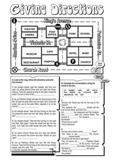 Giving directions Language: Grade/level: Grade 7 School subject: English as a Second Language (ESL) Main content: Giving directions Other contents: places in the city Map Worksheets, Grammar Worksheets, Worksheets For Kids, Kindergarten Worksheets, Printable Worksheets, Grammar Games, Give Directions, Following Directions, English Lessons
