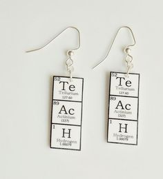 TeAcH  Earrings  Periodic Table of Elements by nnvillan on Etsy, $12.00