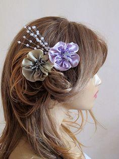 Wedding Flower Hair Comb Bridesmaid flower hair by selenayy