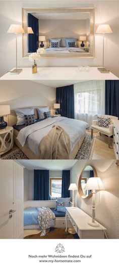Interior Design by HOMEMATE - Bedroom in white, blue and taupes.
