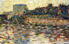 George Seurat (French, 1859-1891) - 	  Courbevoie, Landscape With Turret, 1883-1884
