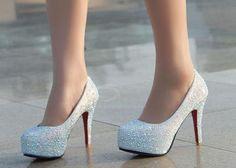 Wedding Rhinestone and Platform Design Women's Stiletto Heel Pumps, WHITE, 38 in Pumps | DressLily.com