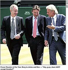 What a reunion! John McEnroe, Jimmy Connors and Bjorn Borg