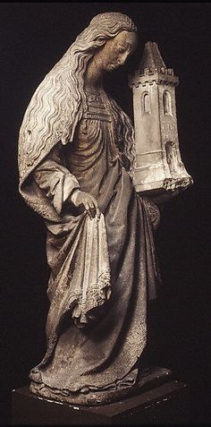 Saint Barbara, 16th century, French; Caen stone, originally painted and gilded; 141.9 cm | Metropolitan Museum of Art