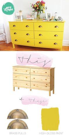 meuble ikea personnalisé jaune