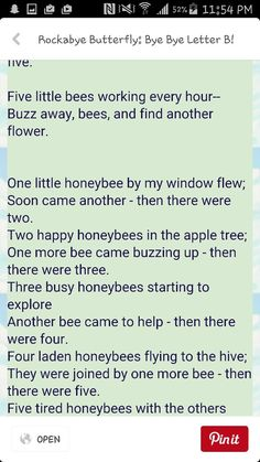 Bumble Bee-Math Song Math Songs, Preschool Songs, Bee Activities, Circle Time Songs, Finger Plays, Five Little, Bee Theme, Letter B, Theme Song