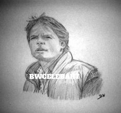 BACK TO THE FUTURE ORIGINAL REALISM GRAPHITE  PENCIL DRAWING MICHAEL J FOX MARTY #Realism