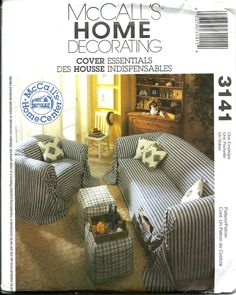 McCall's 3141 Cover Essentials Sofa Slipcover, Chair Slipcover, Ottoman & Pillows Pattern UNCUT by DawnsDesignBoutique on Etsy
