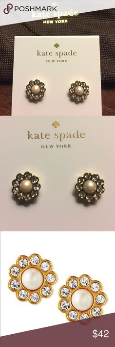 """kate spade pearl flower stud earrings Amazing Floral stud earrings by kate spade new york. Brand new with drawstring gift bag.  12-karat yellow gold plate. Faux pearls. Glass crystals. Post backs for pierced ears. Approx. 1/2""""L. kate spade Jewelry Earrings"""