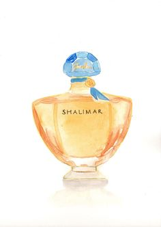 Items similar to Guerlain Shalimar Parfum Fragrance - Watercolor Perfume bottle illustration on Etsy Fragrance Parfum, Beauty Illustration, Watercolor Illustration, Special Pictures, Aesthetic Drawing, Best Perfume, Perfume Collection, Bottle Painting, Fragrance