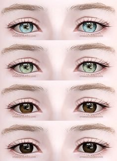 """eruwen: """" Contacts n12! • All ages, both genders • Four channels • File compressed I recommend using these with Awt/sclub's eyeball sliders to control iris and pupil size. Download: box 