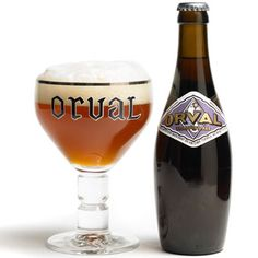 Orval Trappist Ale by Brasserie d'Orval S.A. in Belgium...6.9%...nice, complex beer with bitter hop flavor and solid malt undertones...